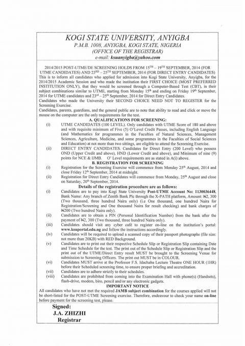 KSU Undergraduate Registration Procedure & Payment Instructions -2016/17
