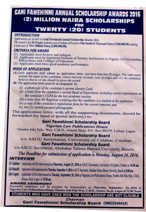 Gani Fawehinmi Undergraduate Scholarship Award 2016 Application Begins