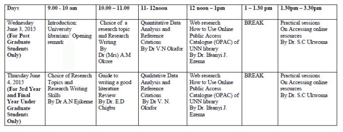 library trainin timetable