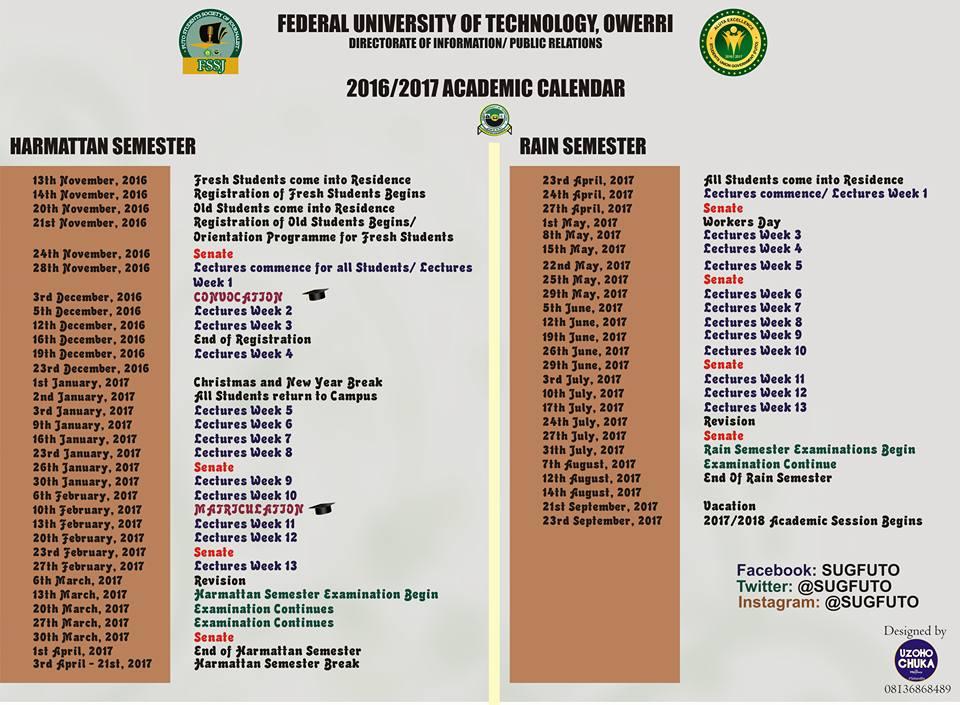 Calendar Nigeria : Futo academic calendar for  session released