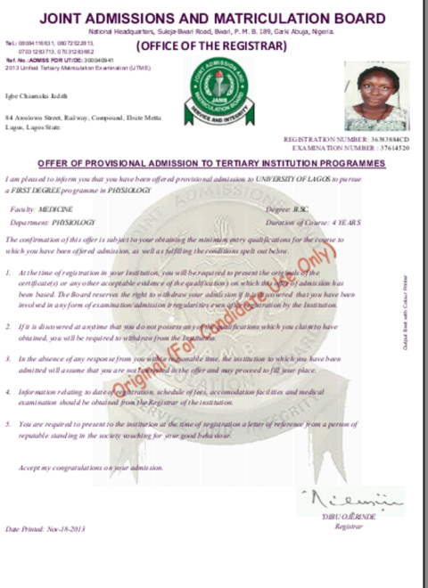 [Must Read] JAMB Printed Admission Letter – All You Need To Know