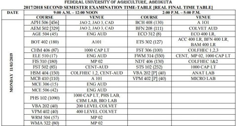 FUNAAB Announce 2nd Semester 2019/20 Session Examination Date