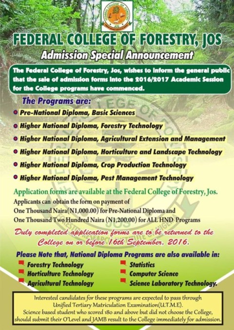 Federal College of Forestry Jos Pre-ND, ND and HND Admission Form 2016/17