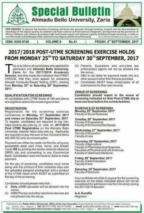 ABU Zaria Post-UTME Form 2019/20: Cut off Mark & Admission Screening Dates