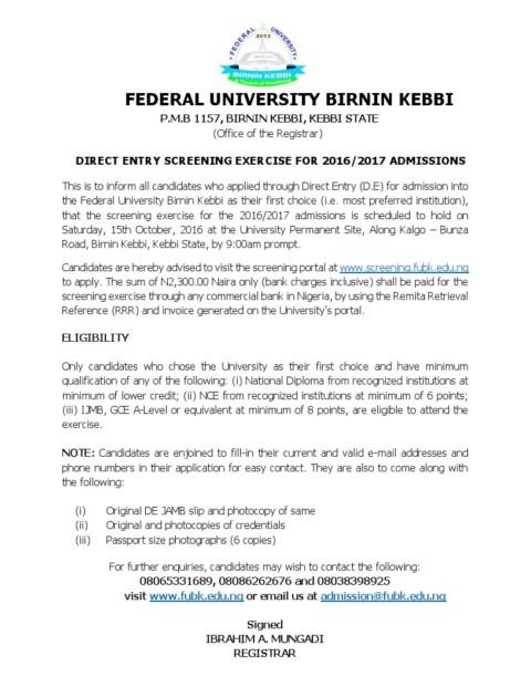 FUBK Begins Sales of Remedial Programme Admission Form 2017/18 Session