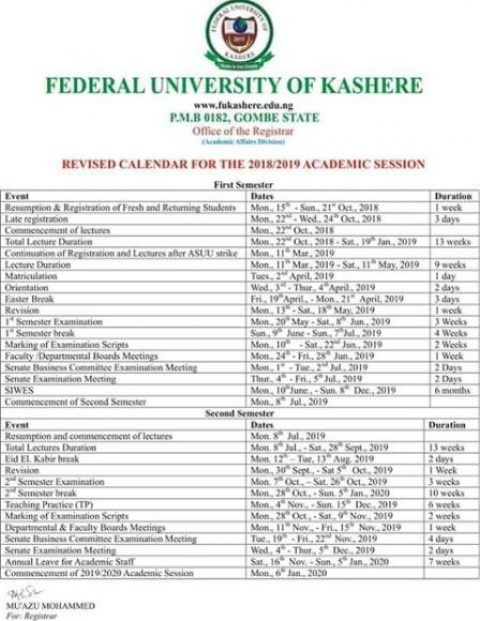 Federal University Kashere Academic Calendar 2018/2019 Published