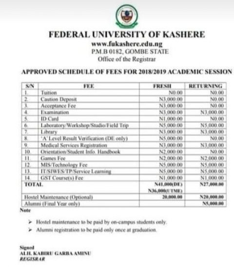 FUKashere School Fees Schedule 2018/2019 Session is Out
