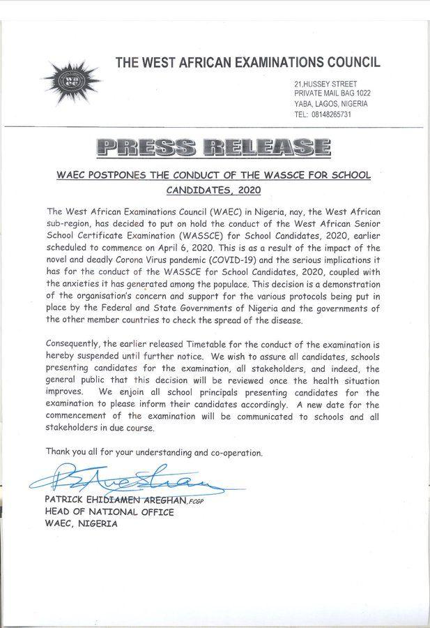 waec-postpones-exam-covid